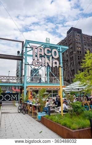 New York, Usa. May 18, 2019. Domino Park Cafe Sign In Williamsburg, New York.