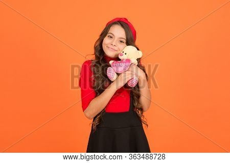 Toy Friend Let Me Play With You. Happy Child Cuddle Teddy Bear. Little Girl Smile With Toy Friend. F