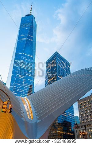 New York, Usa. March 20, 2020. View Of The Oculus Architecture Details In Lower Manhattan At Sunset