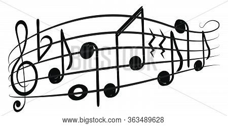 Music Notes And G-clef On а Music Staff, Decorative Element For Your Design.