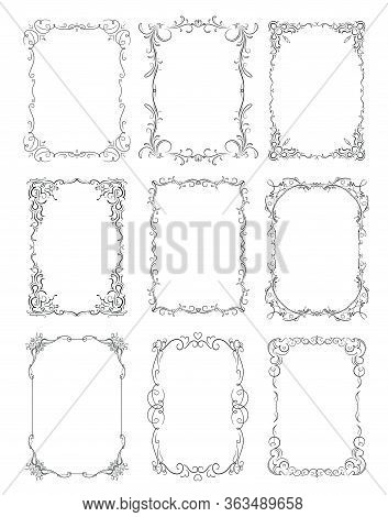 Set Of Six Thin Decorative Stylish Vector Frames For Your Design