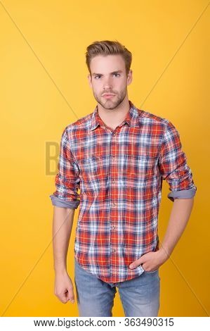 Students Life. Summer And Spring Male Collections. Handsome Man In Checkered Shirt On Yellow Backgro