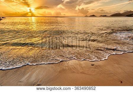 Beautiful sunset at Seychelles beach, Mahe
