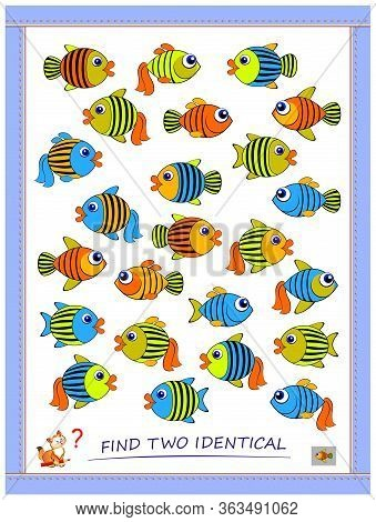 Logic Puzzle Game For Children And Adults. Find Two Identical Fishes. Printable Page For Kids Brain