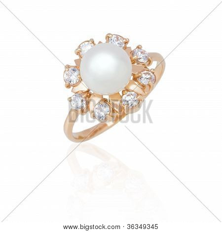 Jewelry Ring With Pearl And Diamonds On White Background