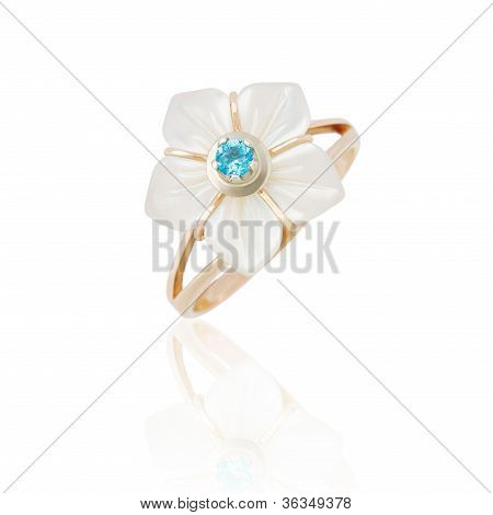 Jewelry Ring With Nacre On White Background. Isolated