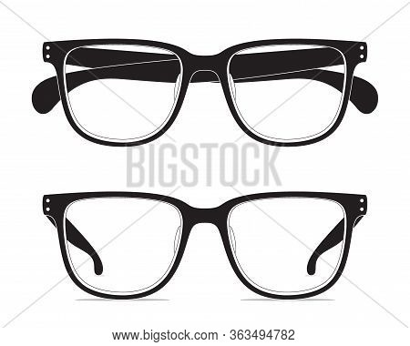 Contour Drawing Of Classic Shape Eyeglasses, Isolated On A White Background. Vector Set Of Black Eye