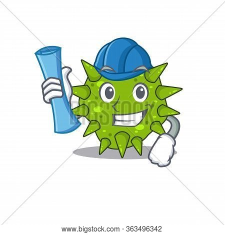 Cartoon Character Of Vibrio Cholerae Brainy Architect With Blue Prints And Blue Helmet