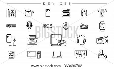 Devices Concept Line Style Vector Icons Set.