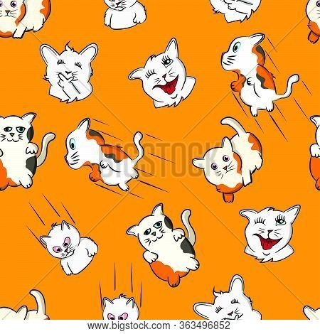 Seamless Pattern Funny Cat Cartoon Pet, Kitty, Expression Face Kitten, Silly Face Doodle, Orange Bac