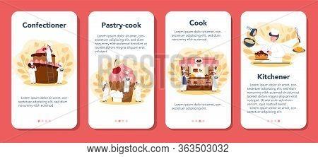 Confectioner Mobile Application Banner Set. Professional Confectioner