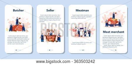 Butcher Or Meatman Mobile Application Banner Set. Fresh Meat