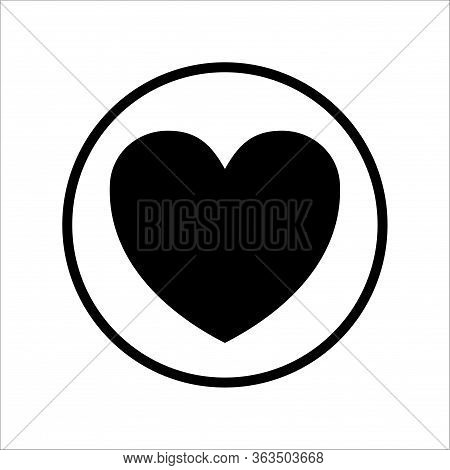 Love Icon With A Circle Line. Isolated Love Icon On A White Background. Eps Love Icon. Love Image Ic