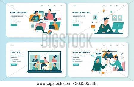 Remote Working Web Banner Or Landing Page Set. Telework