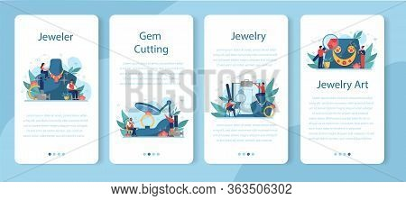 Jeweler And Jewelry Mobile Application Banner Set. Idea Of Creative