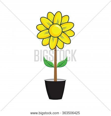 Sunflowers, Sunflower Vector, Sunflowers In Pots, Isolated Sunflowers On A White Background, Plants,