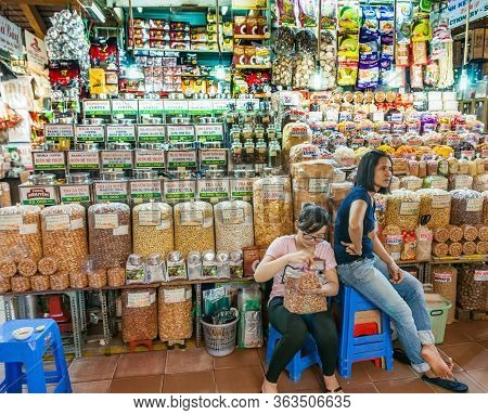 Vietnam, Saigon - October 12 2013; Bulk Asian Food For Sale In Market In  Ho Chi Min City With Two V