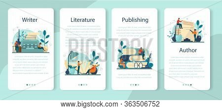 Professional Writer, Literature Mobile Application Banner Set.