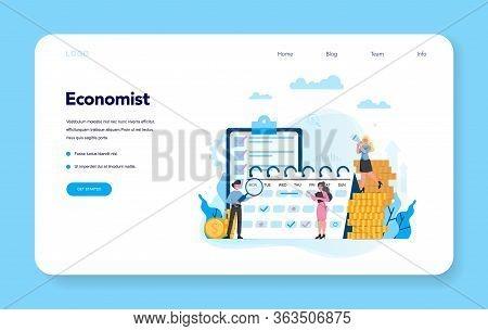 Economists Concept Web Banner Or Landing Page Set. Business People