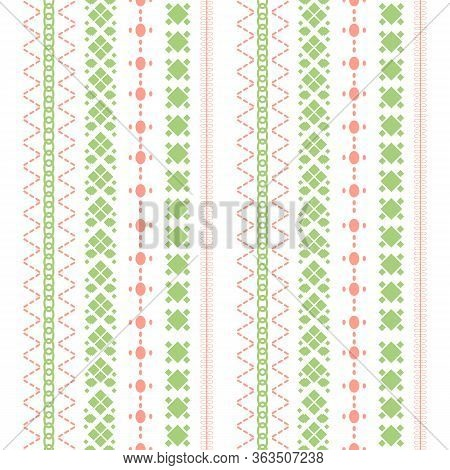 Cute Stitches Embroidery Style For Fabric Cotton Design.