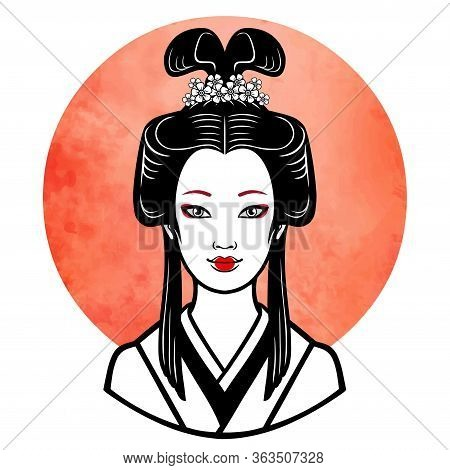 Realistic Portrait Of The Young Japanese Girl  An Ancient Hairstyle. Geisha, Maiko, Princess. Backgr