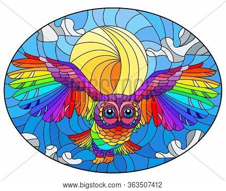 Illustration In Stained Glass Style With Abstract Rainbow Owl Flying On Sky Background With Sun And
