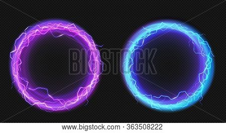 Electric Lightning Circles With Blue And Purple Glow Effect. Illuminated Neon Round Frames. Vector R