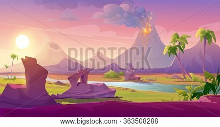 Volcano Eruption With Lava Flows And Smoke Clouds. Vector Cartoon Summer Landscape Of Mountain With