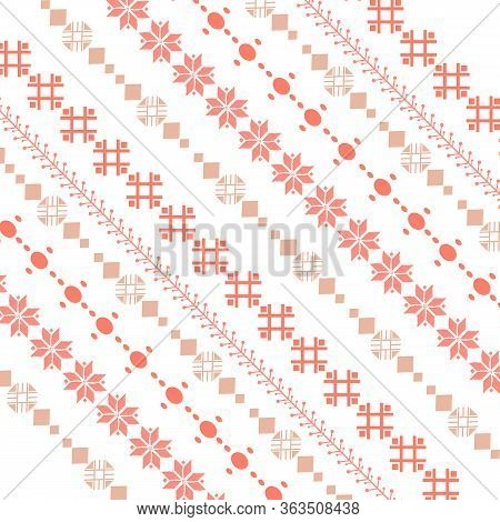 Seamless And Cute Embroidered Design Pattern For Bedroom Decor.