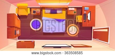 Bedroom Interior Top View. Vector Cartoon Empty Sleeping Room With King Size Bed, Tv And Mirror On W