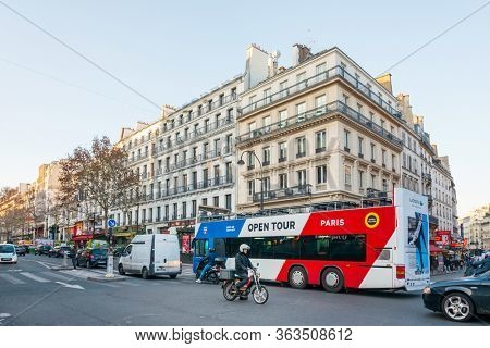 PARIS, FRANCE - November 17, 2019: sightseeing bus in Paris city, France.