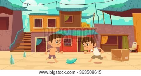 Kids In Ghetto Playing Football With Old Plastic Bottle And Carton Box. Children Play Soccer At Slum