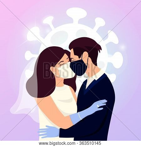 Save The Date Concept Of Coronavirus 2019-ncov. Quarantine Wedding. A Man And A Woman Get Married. K
