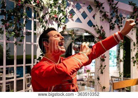London, England, Uk - January 2, 2020: Waxwork Statues Of Freddie Mercury Created By Madam Tussauds,