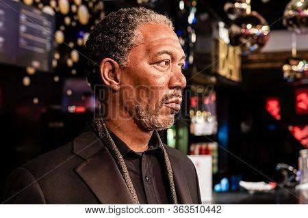 London, England, Uk - January 2, 2020: Waxwork Statues Of Morgan Freeman Created By Madam Tussauds I
