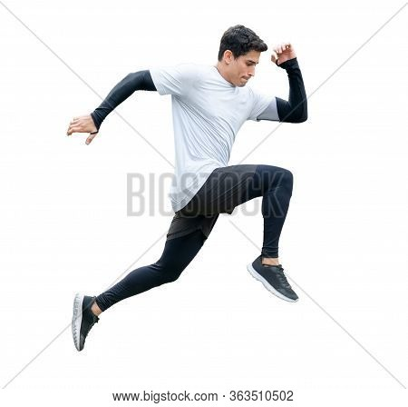 Young Fitness Man In Sportwear Running Isolated On White Background With Clipping Path. Exercise Run