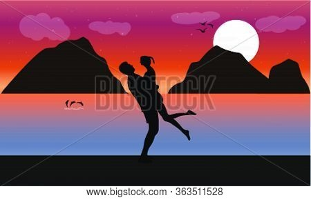 Image Silhouette Twilight With Woman Riding A Horse On The Beach And There Is A Moon On The Sea, Des
