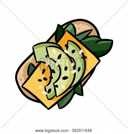 Avocado Toast With Cheese Cute Cartoon Doodle. Detailed Avocado Vector Sandwich Isolated On White Ba
