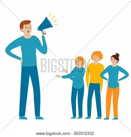 Megaphone Alert Advertising And Propaganda Concept. Vector Illustration For Landing Page, Template,