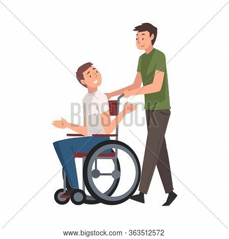 Disabled Man In Wheelchair Walking With His Friend, Handicapped Man Receiving Support And Having Goo