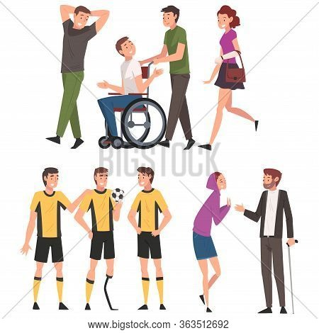 Disabled People Having Good Time With Their Friends Set, Handicapped Men Receiving Support And Enjoy