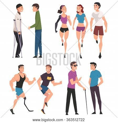 Disabled People Doing Sports And Having Good Time With Their Friends Set, Handicapped Men And Women