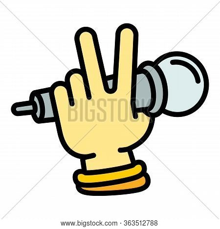 Hiphop Singer Microphone Icon. Outline Hiphop Singer Microphone Vector Icon For Web Design Isolated