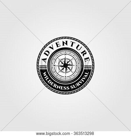Compass Logo Vector Wilderness Adventure Survival Emblem Illustration Design