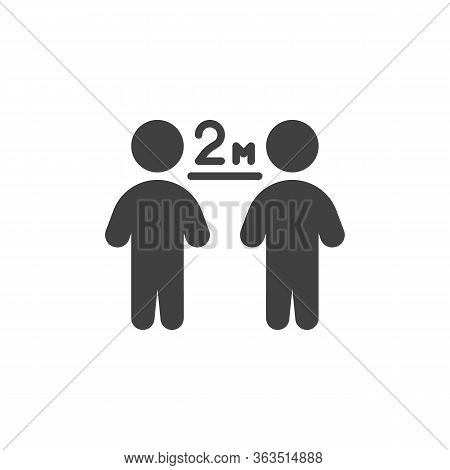 Keep The 2 Meter Distance Vector Icon. Filled Flat Sign For Mobile Concept And Web Design. Social Di