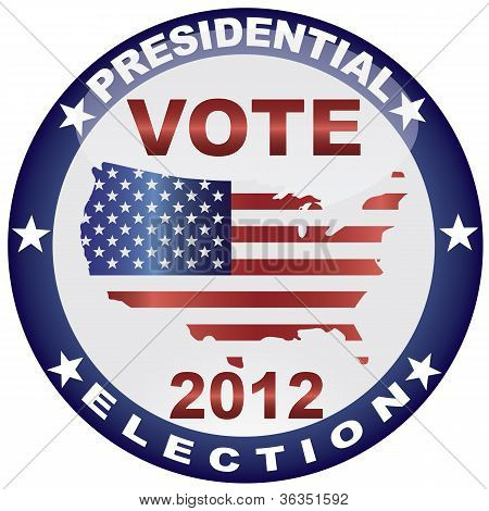 Vote Presidential Election 2012 Button Illustration