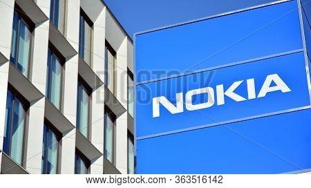 Warsaw, Poland. 27 April 2020. Sign Nokia. Company Signboard Nokia