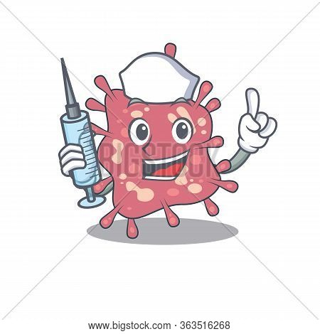 A Nice Nurse Of Haemophilus Ducreyi Mascot Design Concept With A Syringe