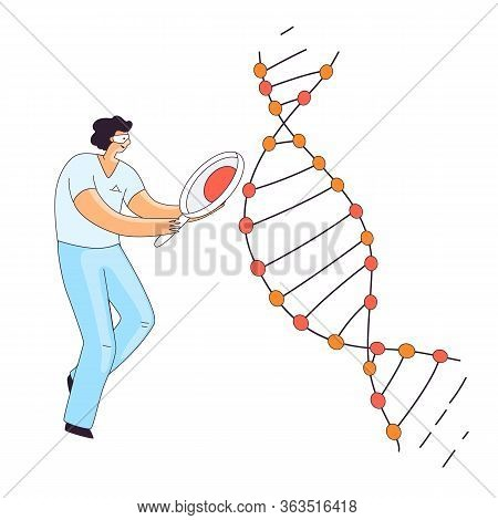 Flat Illustration Of Scientist Man, Character Doing Genetic Dna Gene Research. Man Looking For An In