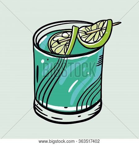 Blue Devil Cocktail. Cartoon Flat Vector Illustration. Isolated On Soft Green Background.